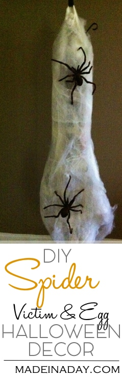 Easy Spider Victim & Egg Halloween Decor, Make creepy Halloween decor out of newspaper and spider web material. Be the hit of your next party!