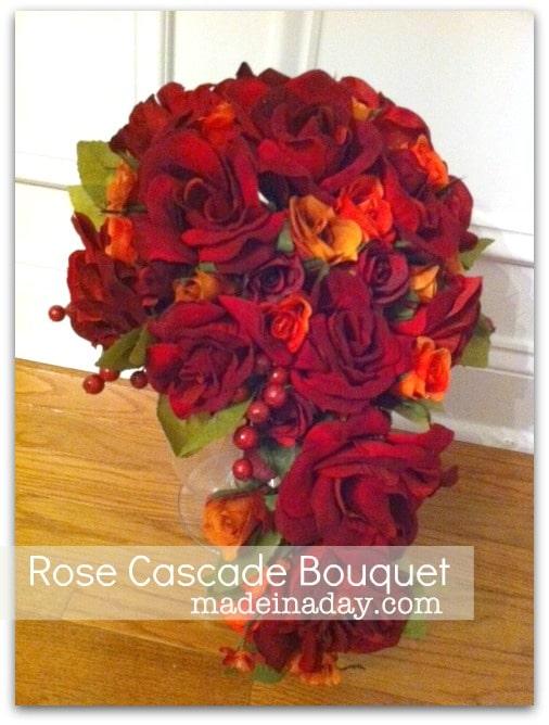 Silk Rose Cascade Bouquet ~Made in a Day