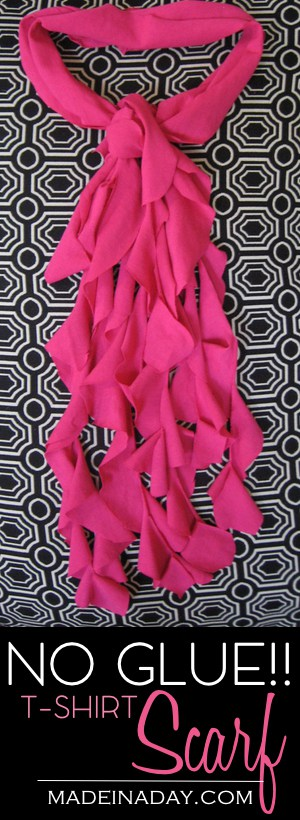 NO GLUE Makeover of the T-shirt Scarf, Learn to make this ever popular scarf the easy way. No glue, no mess! Tutorial on madeinaday.com