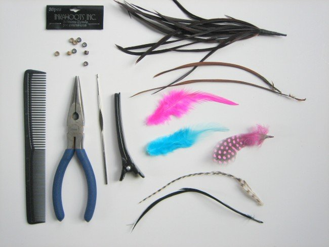 Supplies for DIY Feather Hair extensions