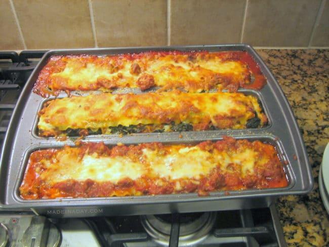 Lasagne Trio Pan Spinach Lasagne Recipe madeinaday.com