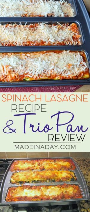 Spinach Lasagna and a #Lasagna Trio Pan Review,