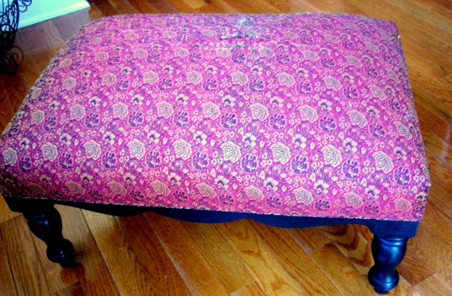 makeover ottoman with burlap