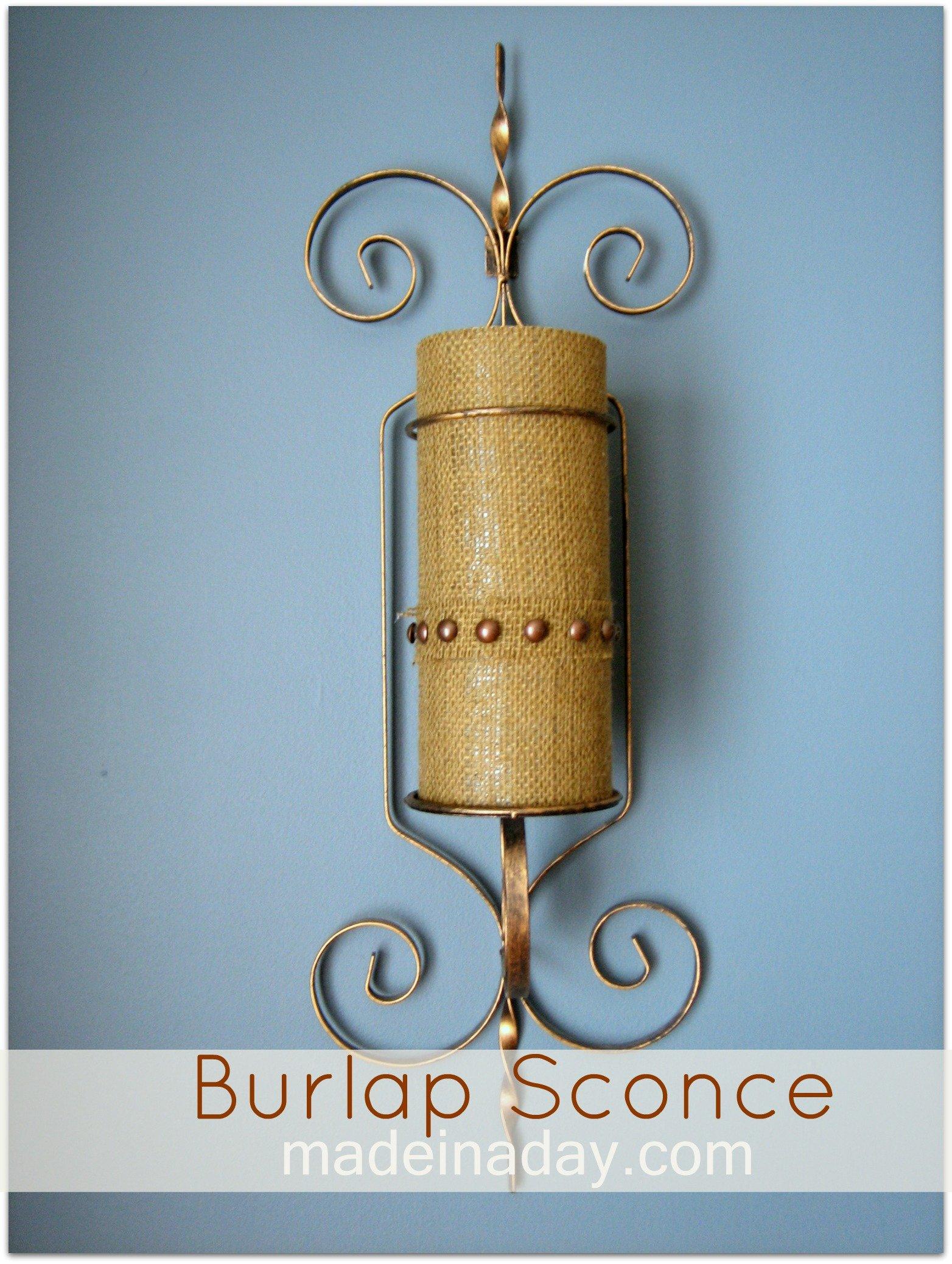 DIY Burlap Sconce