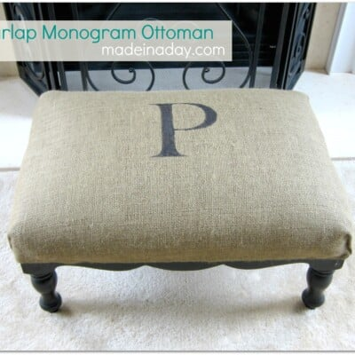 Monogram Burlap Ottoman Up-do!