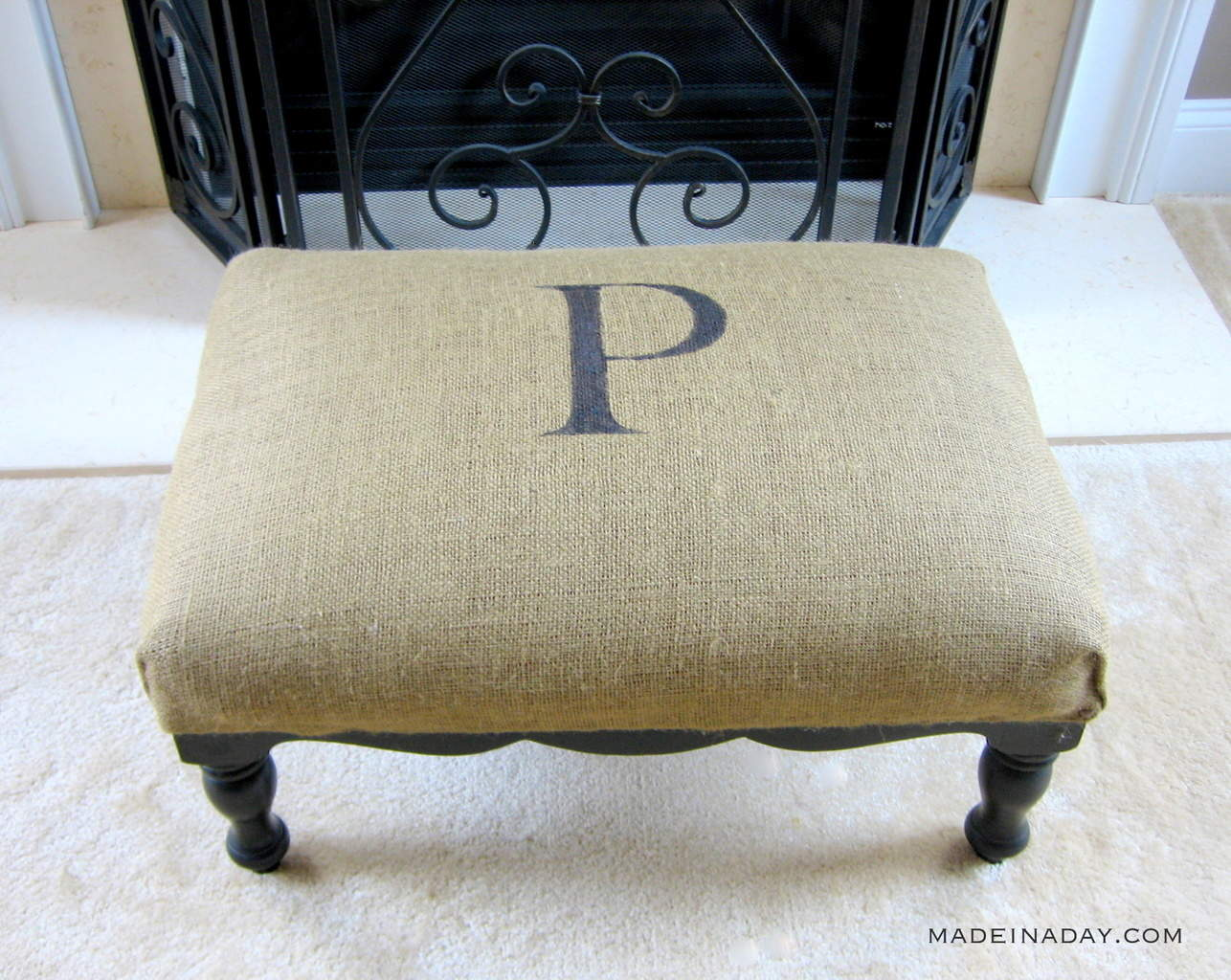 DIY Upholstery Monogrammed Burlap Ottoman tutorial on madeinaday.com