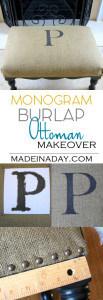 Monogram Burlap Ottoman Up-do! 1