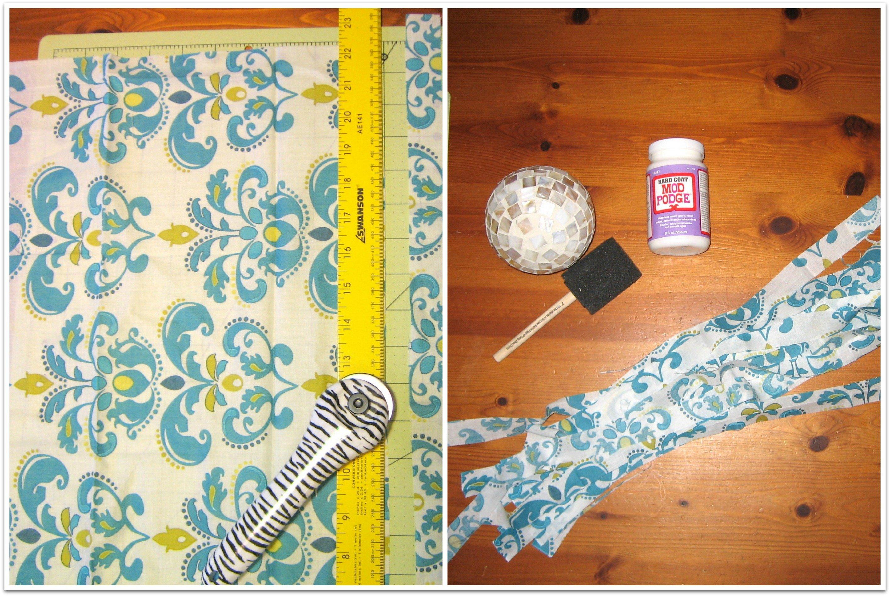 cut fabric to decoupage orbs