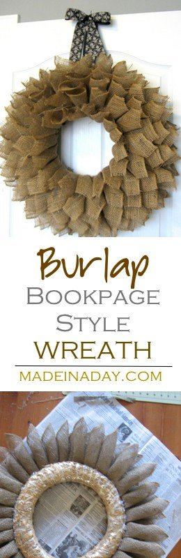 "Make this large fluffy ""Book Page Style"" wreath using burlap ribbon. Farmhouse wreath, Burlap wreath, fluffy ribbon wreath, #farmhouse #wreath #burlap #bookpage"