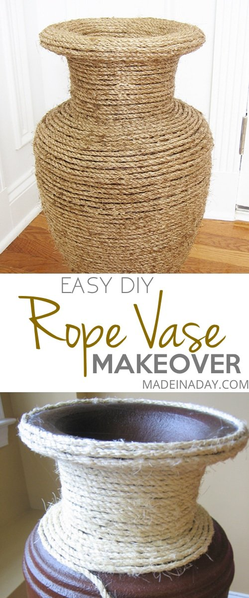 DIY Rope Vase, Learn to turn a 1980's vase into a modern #Natural Rope #Vase, staining rope to make it darker, #rope #sisal rope vase,