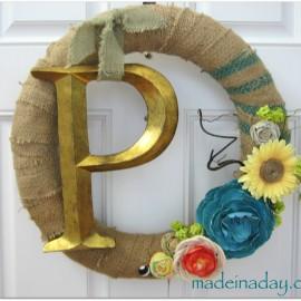 Spring Monogram Burlap Wreath