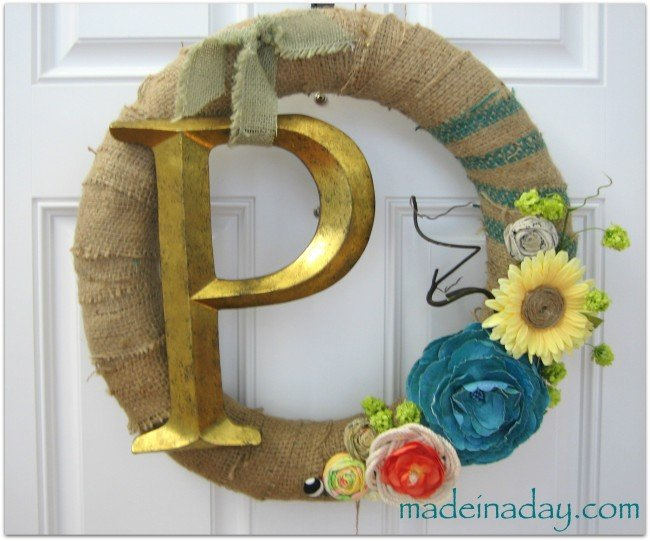 Spring Monogram Burlap Wreath