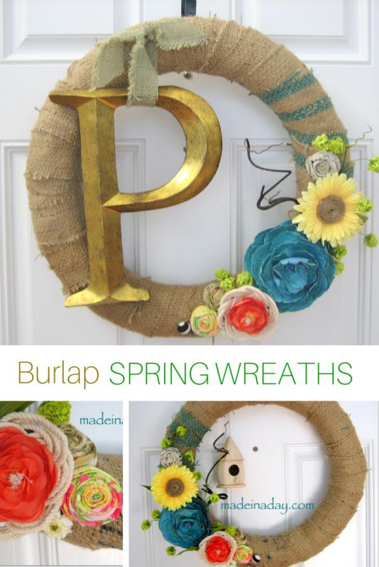 3 Burlap Spring Wreath Tutorials madeinaday.com
