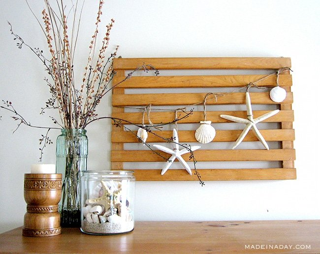 #Starfish #Garland, Sea #Vignette, Easy DIY Starfish banner, shell garland, #coastal vignette, Nautical coastal bedroom decor, green glass, shell decor