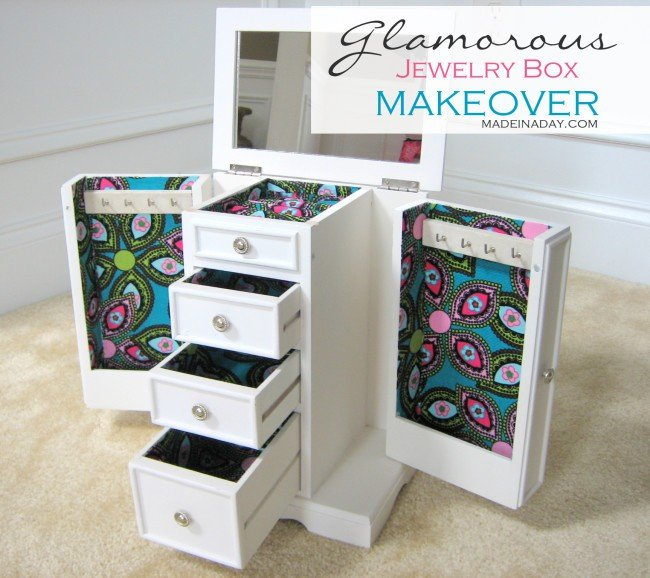 Glamorous Jewelry Box Makeover on madeinaday.com