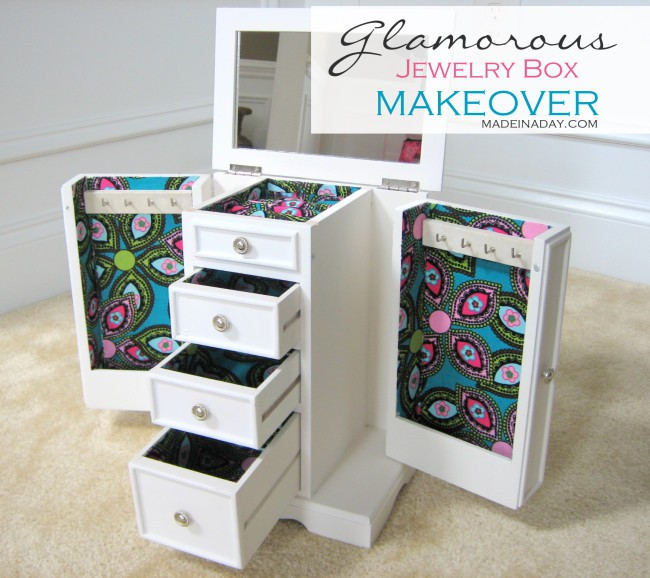 Glamorous Jewelry Box Makeover on madeinaday.com