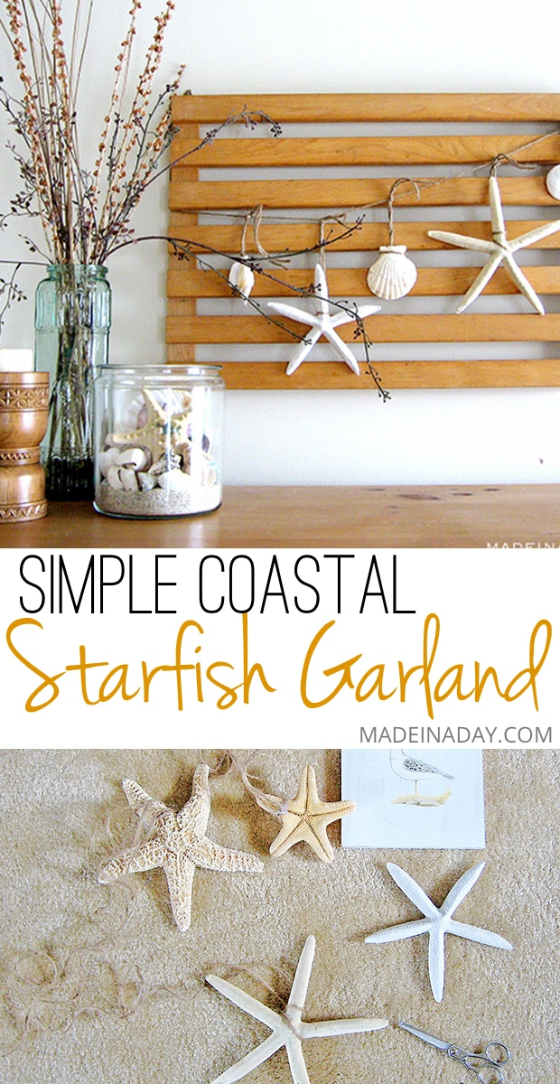 #Starfish #Garland, Sea #Vignette, Easy DIY Starfish banner, shell garland, #coastal vignette, Nautical vignette, coastal bedroom decor, green glass, shell decor
