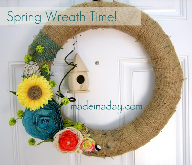 Spring Wreath Burlap Birdhouse