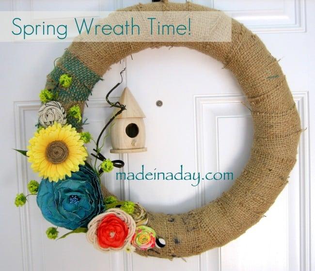 Spring Wreath Burlap Birdhouse