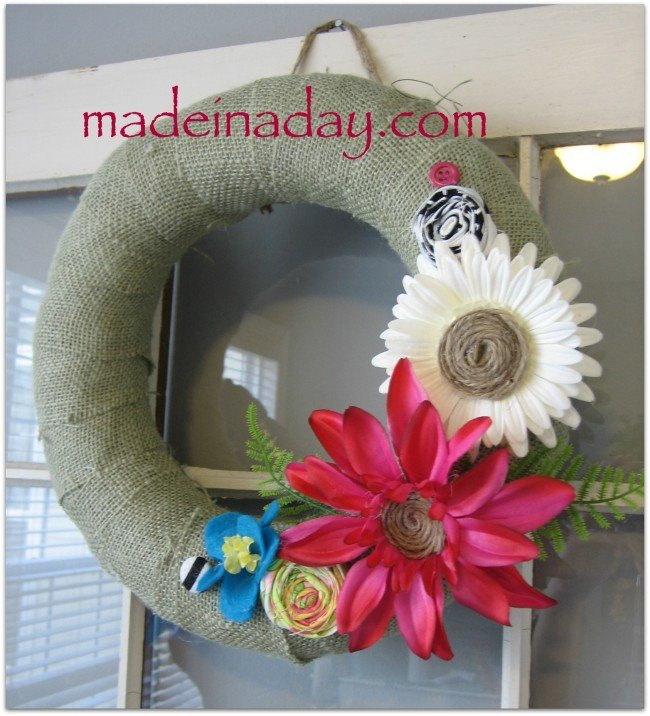 Tropical burlap wreath