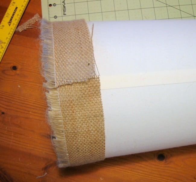Add burlap fringe to edge of lamp shade