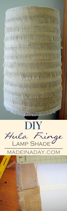 DIY Hula Fringe & Flower Burlap Lamp Shade, Upgrade plain lamp shades with burlap fabric. Make a cute fringe shade and a decoupaged burlap shade and even a cute jute flower, tutorial on madeinaday.com