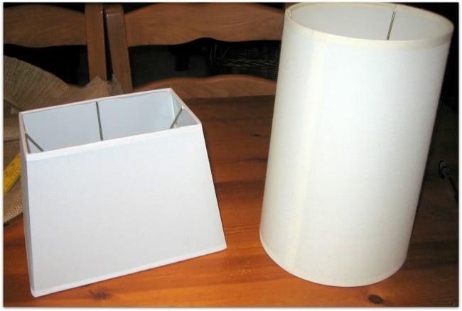 Lamp shades before burlap