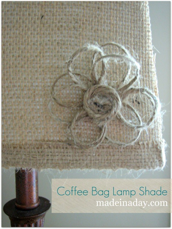 burlap flower lamp shade