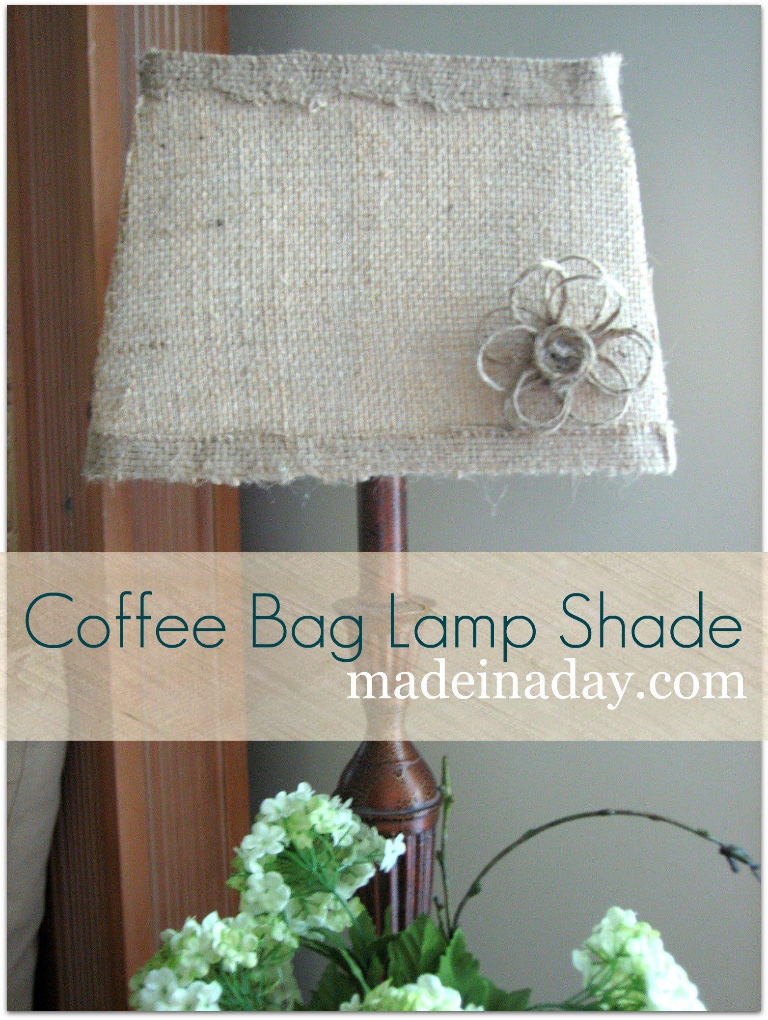 Hula fringe burlap lamp shade coffee bag lamp shade tutorial mozeypictures Choice Image