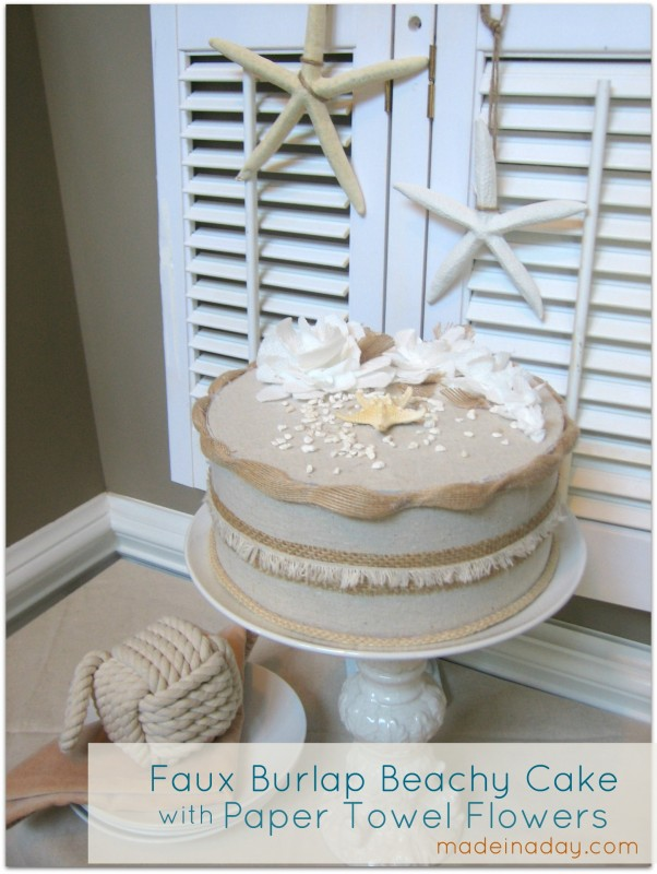 nautical faux cake paper towel flowers