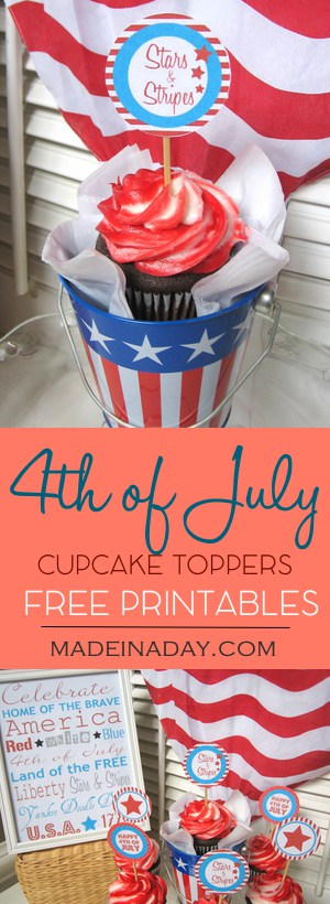 4th of July Patriotic Cupcake Topper & Frameable Quote FREE Printables, Easy fun party cupcake toppers for the 4th of July holiday! Just print, cut and glue to toothpicks. Plus a fun frameable quote for your home decor.
