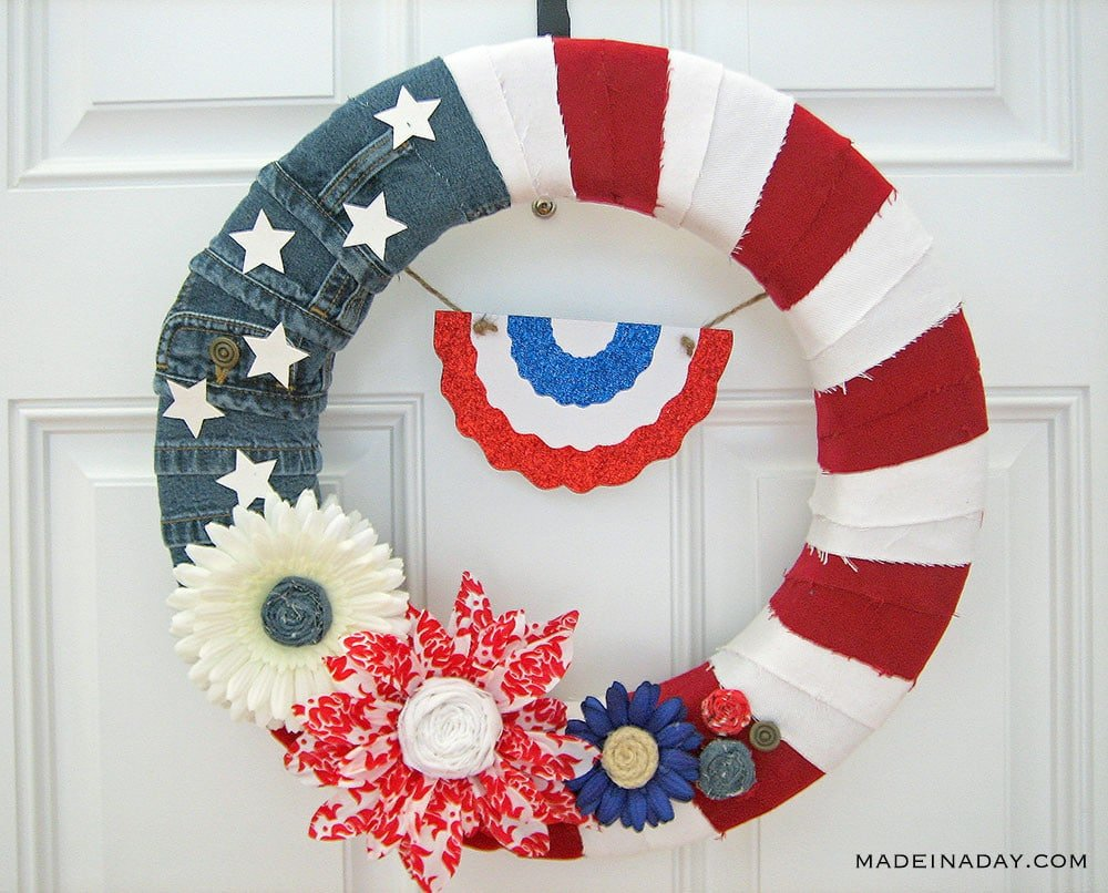 Patriotic Denim Flag Wreath, denim wreath, American flag wreath, patriotic wreath, 4th of July wreath, red, white and blue wreath, patriotic door decor, Americana wreath, Independence Day Wreath, floral patriotic wreath, memorial day wreath,