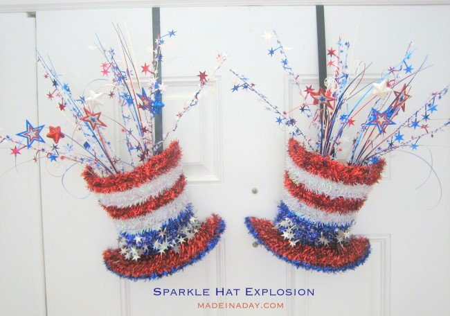 DIY Patriotic Sparkle Hat Explosion Door Hangers madeinaday.com