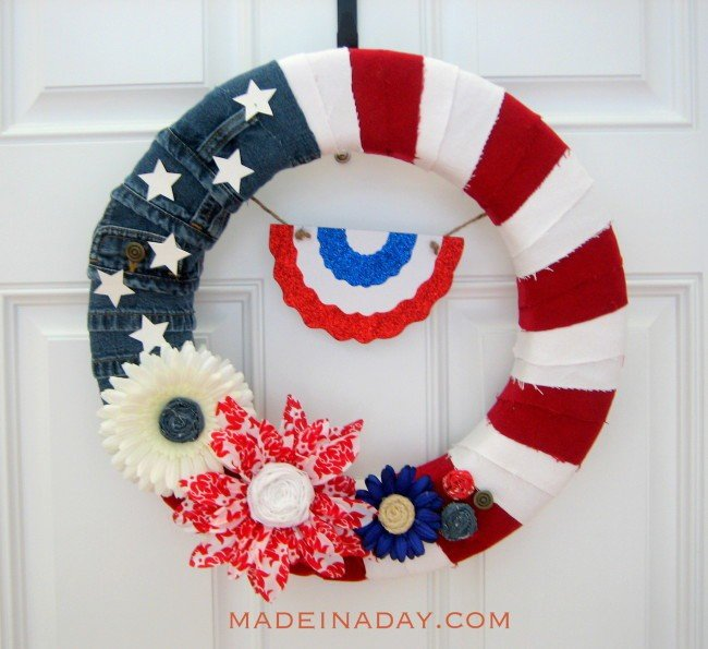 Denim Flag Wreath madeinaday.com