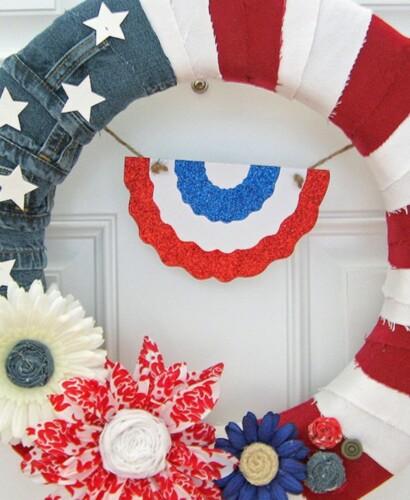 Red White & Blue American Denim Flag Wreath 34