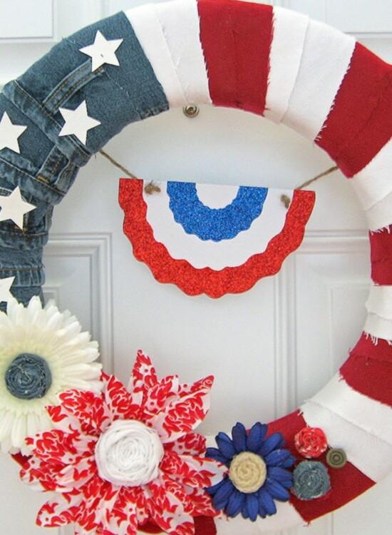 Red White & Blue American Denim Flag Wreath 33
