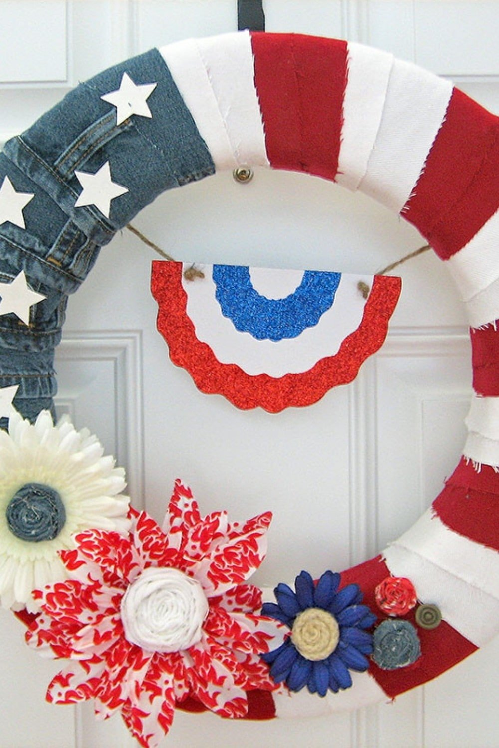 Red White & Blue American Denim Flag Wreath
