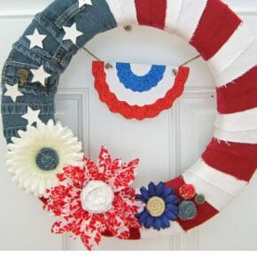 Red White & Blue American Denim Flag Wreath 1