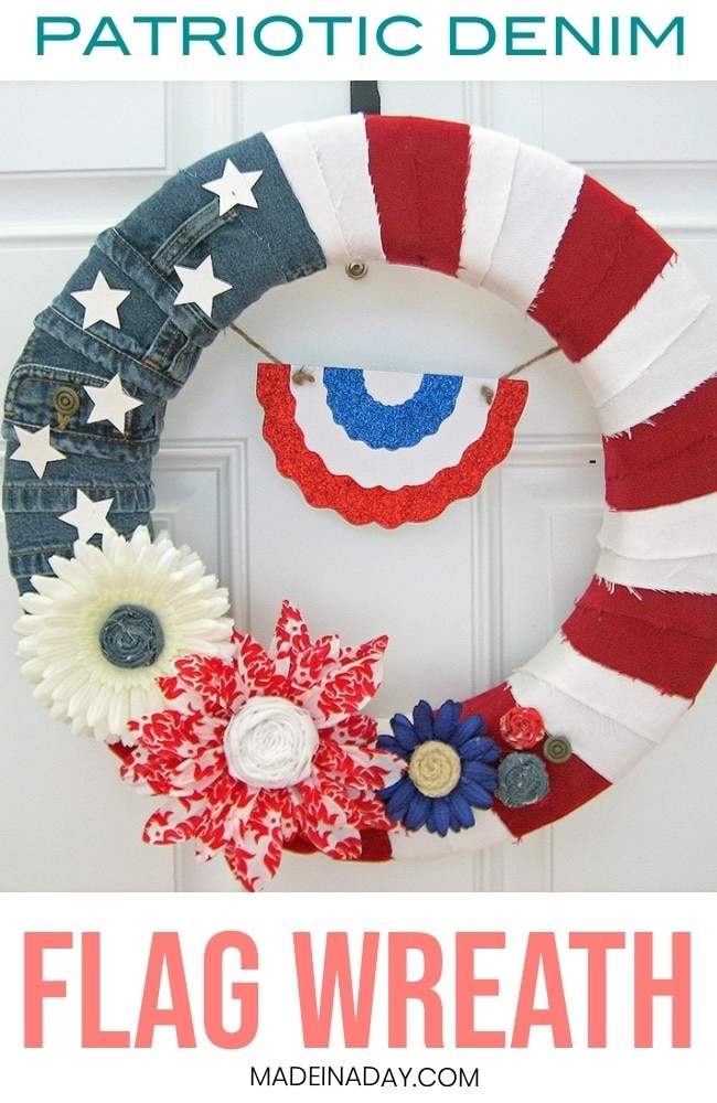 Patriotic Denim Flag Wreath, denim wreath, American flag wreath, patriotic wreath, 4th of July wreath, red, white and blue wreath