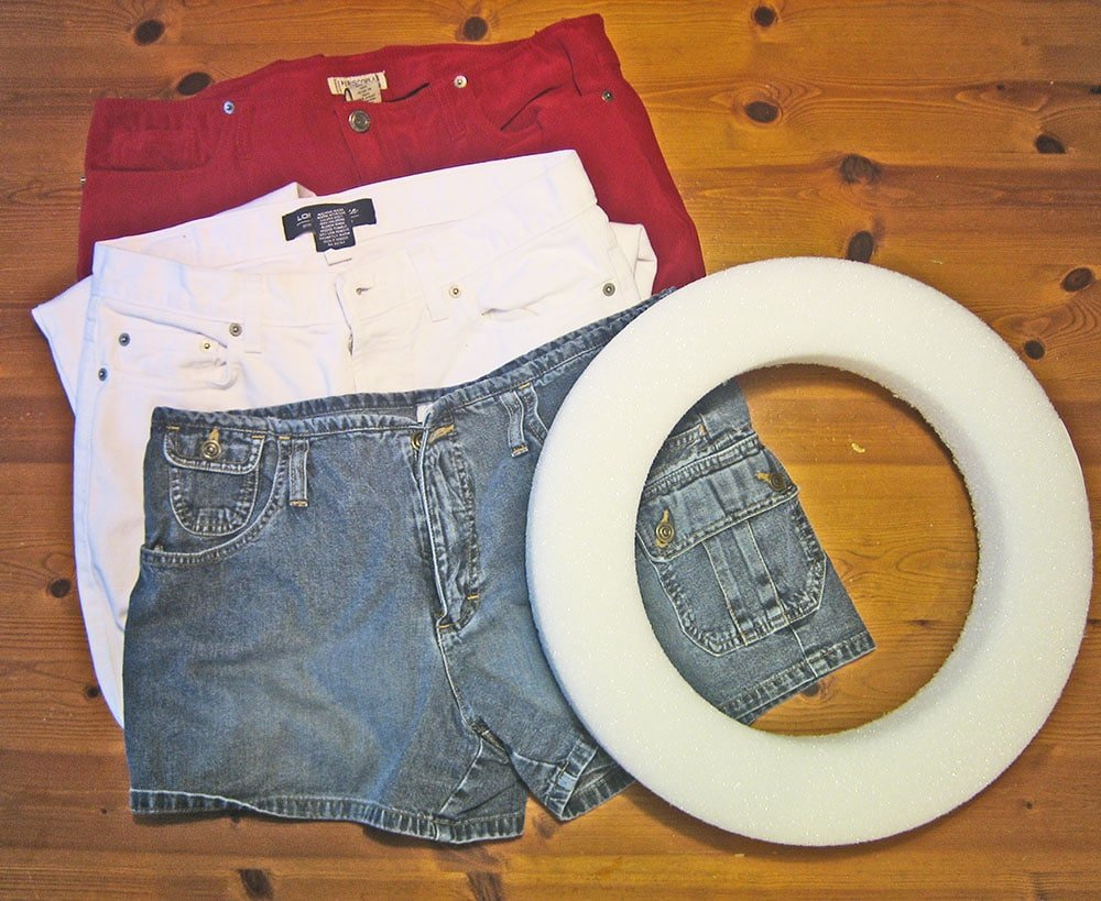 red jeans, blue jeans, white jeans, crafts with denim
