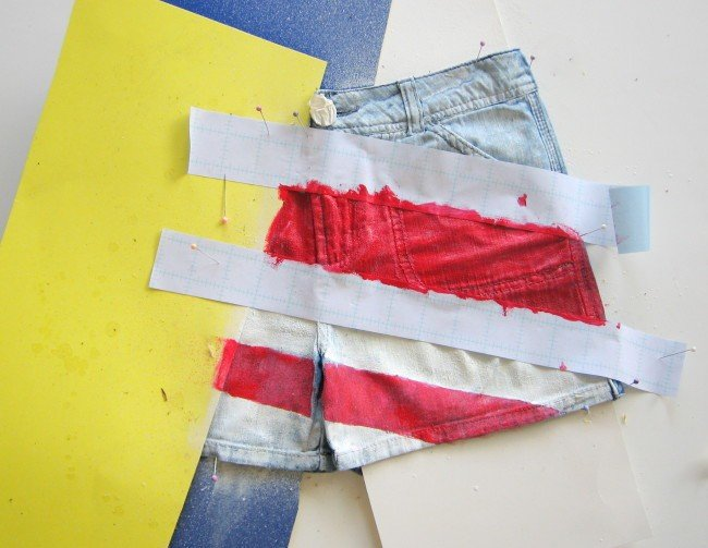 Painting stripes on shorts
