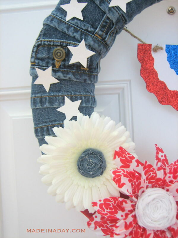 Patriotic Denim Flag Wreath