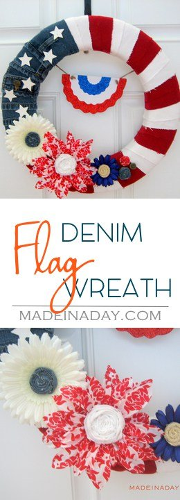 Patriotic Denim Flag Wreath, Wreath made from denim shorts, jute twine, rolled fabric flowers, see the tutorial on madeinaday.com