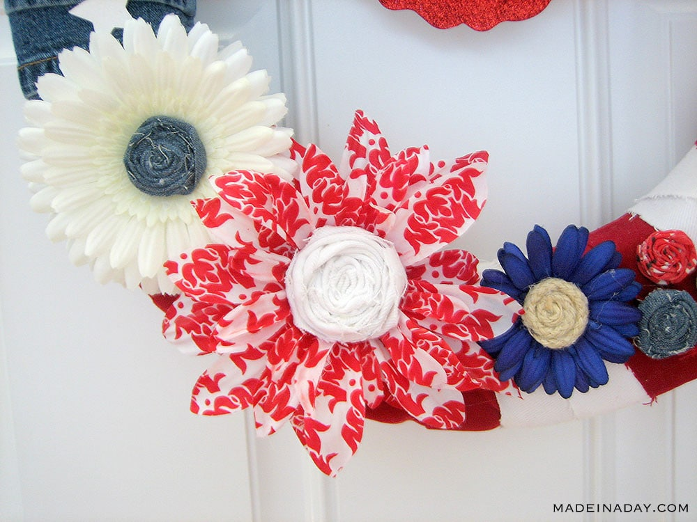 How to make over silk flowers with denim, red white blue flowers, patriotic floral wreath