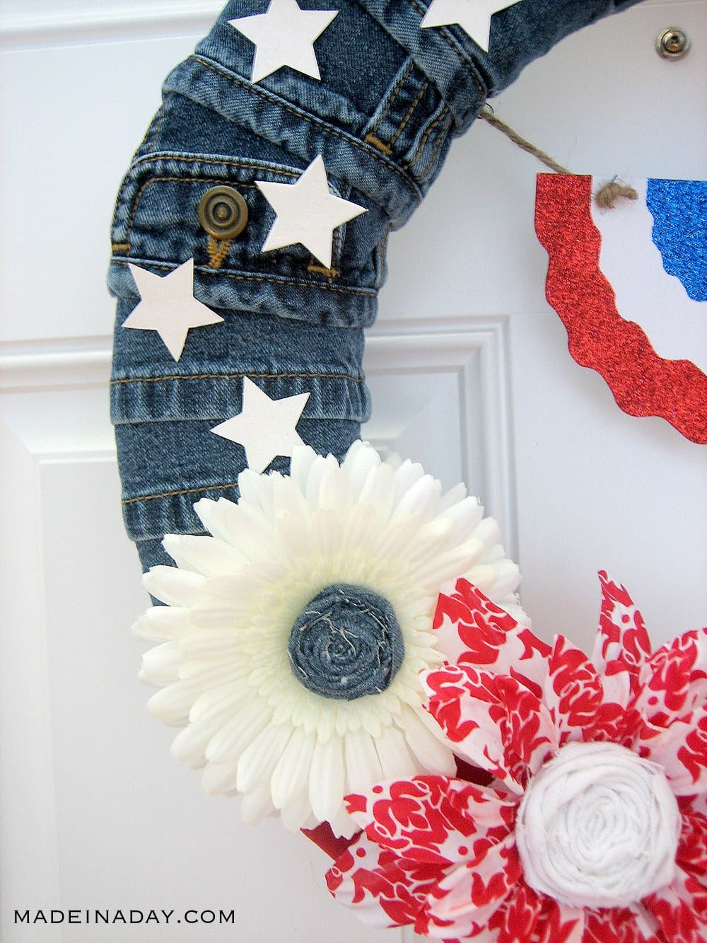 blue jean patriotic flag wreath, 4th of July Wreath, Memorial Day Wreath, Patriotic Wreath