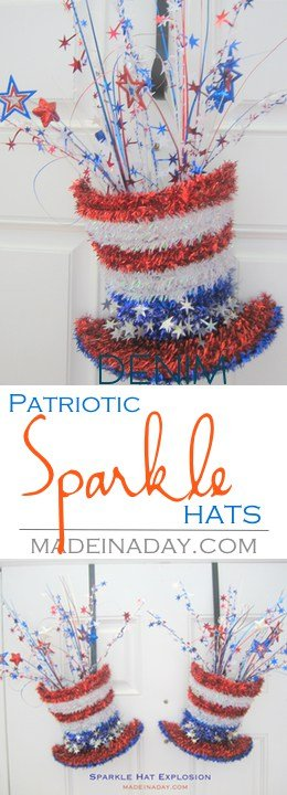 Sparkle Hat Explosion Patriotic Door Hanger, Take a 4th of July Tinsel Top Hat and turn it into two Patriotic Door Hangers for double front doors. Super Cute decor for the holiday!