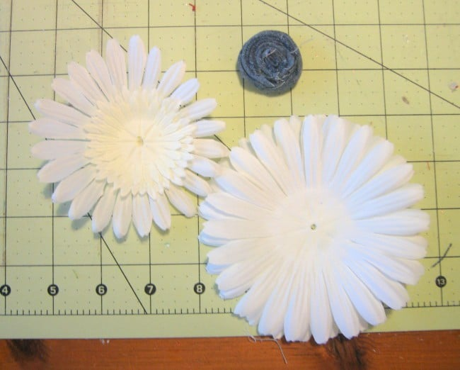Take silk flower apart and replace center