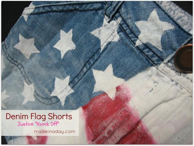 diy flag shorts painted denim