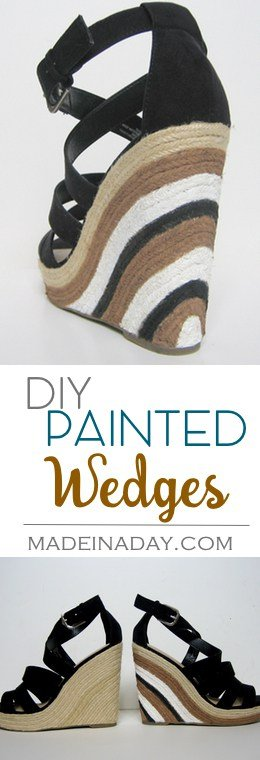 Painted Wedge Sandals, Makeover those plain wedges into a super trendy striped heels, How to paint shoes, black and white sandals, tutorial on madeinaday.com