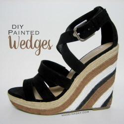 DIY Painted Wedge Sandal Makeover madeinaday.com